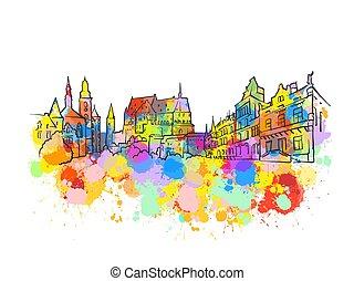 határkő, transzparens, luxemburg, színes