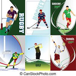 hat, labdarúgás, jég, hé!, sport, posters.