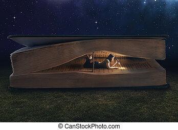 hatalmas, belső, nő, könyv, felolvasás