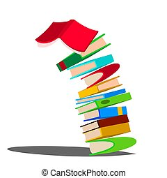 hatalmas, books., elszigetelt, ábra, kazal, lefelé, előjegyez felhalmoz, vector., esés, oktatás, karikatúra, design.