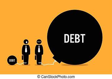 hatalmas, emberek, más, debt., meglepődött, ember
