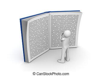 hatalmas, felolvasás, -, gyűjtés, könyv, oktatás, ember