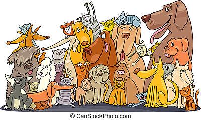 hatalmas, korbácsok, csoport, kutyák