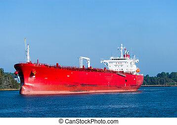 hatalmas, olaj tartálykocsi, piros