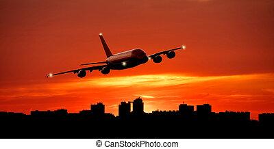 hatalmas, város, repülés, kereskedelmi, láthatár, felül, repülőgép