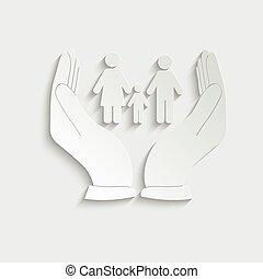 hatalom papír, ikon, vektor, család, kéz, icon., törődik