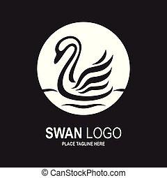hattyú, tervezés, fekete, fehér, template., ikon