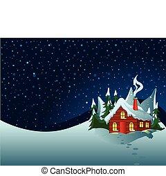 havas, kevés, dombok, épület