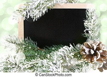 havas, tábla, fa, bokeh, háttér, karácsony, üres