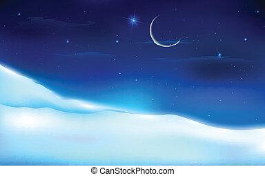 havas, táj, éjszaka