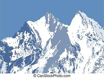 havas, tél, hegy csúcs