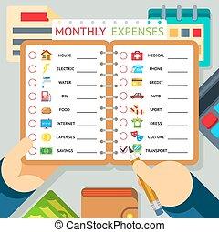 havonként, jövedelem, kiadások, költségek, vektor, sablon, infographics