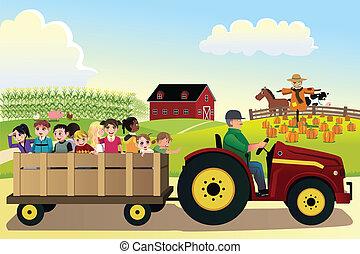 hayride, gyerekek, tanya, megfog, gabonaszem, haladó, háttér