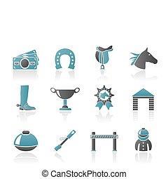 hazárdjáték, ló fut, ikonok