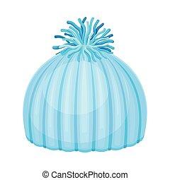headwear, kalap, ábra, tél, kék, vektor, évszaki, kötött, pompon