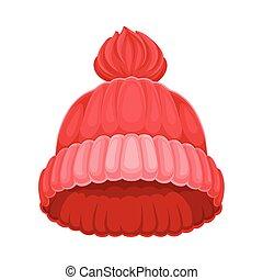 headwear, kalap, ábra, tél, vektor, évszaki, kötött, pompon