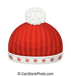 headwear, kalap, ábra, tél, vektor, évszaki, piros, kötött, pompon