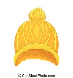 headwear, kalap, ábra, tél, vektor, sárga, évszaki, kötött, pompon