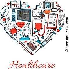 healthcare, alakít, szív, ikonok