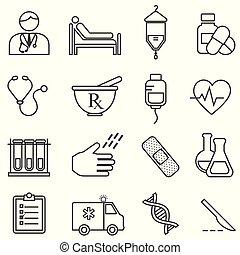 healthcare, egyenes, orvosi, egészség, ikonok
