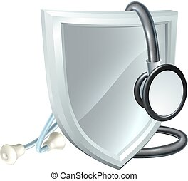 healthcare, orvosi, pajzs, sztetoszkóp, fogalom