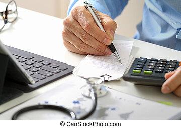 healthcare, számológép, concept., furfangos, orvosi ár, illetékek, kéz, kórház, használt, orvos, modern