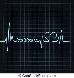 healthcare, szívdobbanás, csinál, szöveg
