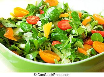 healthy!, salátástál, zöld, friss növényi, szervál, eszik