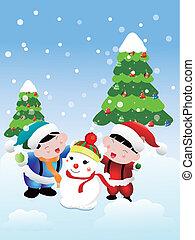 heaping, hóember, kártya, karácsony, két gyerek