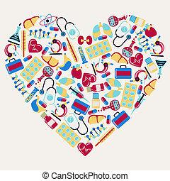 heart., ikonok, orvosi, alakít, egészségügyi ellátás