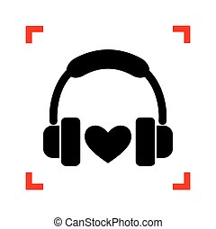 heart., kanyarodik, fejhallgató, összpontosít, hát, fekete, fehér, ikon