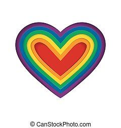 heart., szeret, flag., szivárvány, elszigetelt, illustration., homoszexuális, white., lgbt, vektor, lobogó, format., büszkeség