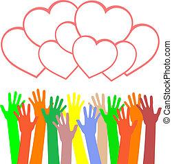 heart., többszínű, köszöntések, hatalom kezezés, kártya