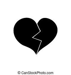 heart., törött, háttér., fekete, fehér, ikon