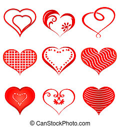 hearts., vektor, állhatatos, piros