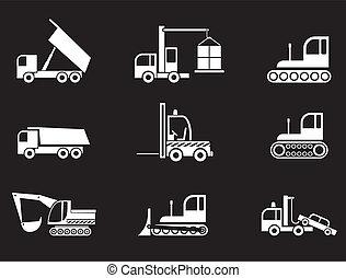 heavy felszerelés, vektor, -, ikonok