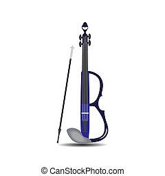 hegedű, vektor, íj, elektromos, ábra