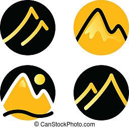 hegy, állhatatos, arany, ikonok, ), (, elszigetelt, fekete, fehér