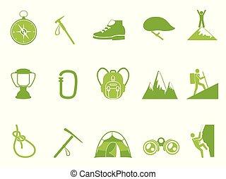 hegy, állhatatos, ikonok, szín, zöld, mászó