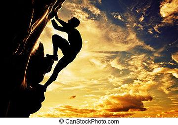 hegy, árnykép, adrenalin, szabad, bátorság, kő, leader., mászó, ember, sunset.
