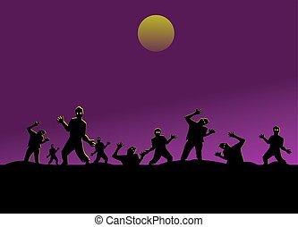hegy, árnykép, bír, bíbor ég, zombies, hold, black háttér, csoport