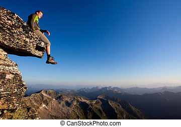 hegy, ülés, fiatal, lőtávolság, felül, kő, ember