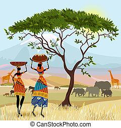 hegy, afrikai, táj, nők