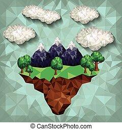 hegy, alacsony, poly, tervezés