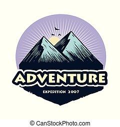 hegy, alapismeretek, kempingezés, badges., tábor, ábra, kaland, vektor, tervezés, erdő, sablon, jel, mászó, emblémák