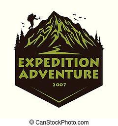 hegy, alapismeretek, természetjárás, badges., tábor, ábra, kaland, vektor, tervezés, erdő, sablon, jel, mászó, emblémák