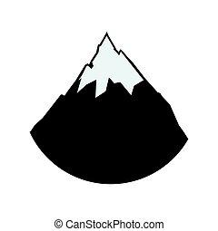 hegy, alpesi növény, hó, ábra, vektor