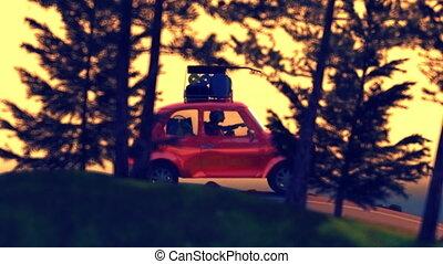 hegy, autó, elvont, tető, karikatúra, élénkség, utazó, sunset., állvány, út, 4k