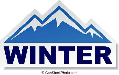 hegy, böllér, vektor, tél