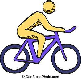hegy biker, skicc, szín, ikon